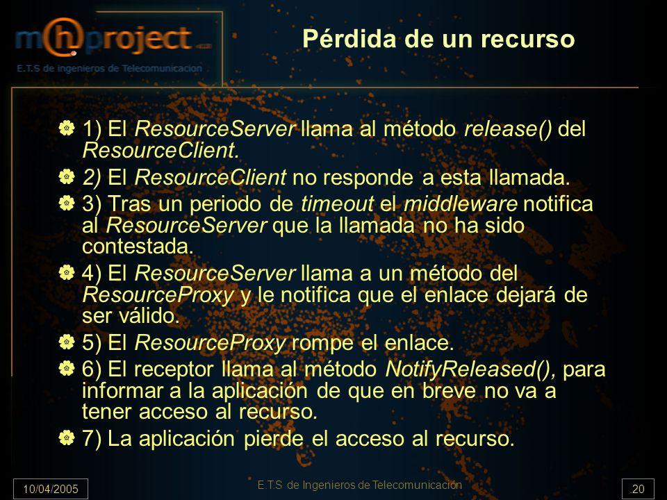 10/04/2005.20 E.T.S de Ingenieros de Telecomunicación Pérdida de un recurso 1) El ResourceServer llama al método release() del ResourceClient. 2) El R