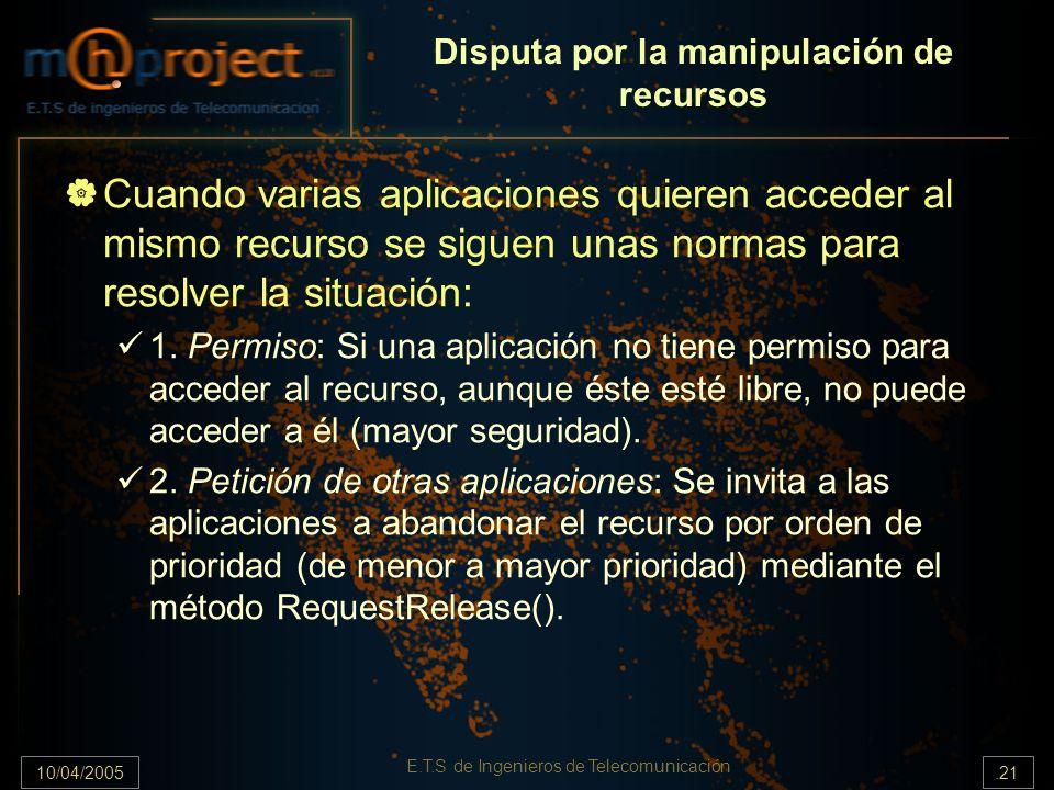 10/04/2005.21 E.T.S de Ingenieros de Telecomunicación Disputa por la manipulación de recursos Cuando varias aplicaciones quieren acceder al mismo recu