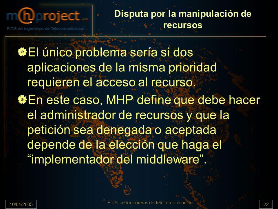 10/04/2005.22 E.T.S de Ingenieros de Telecomunicación Disputa por la manipulación de recursos El único problema sería si dos aplicaciones de la misma