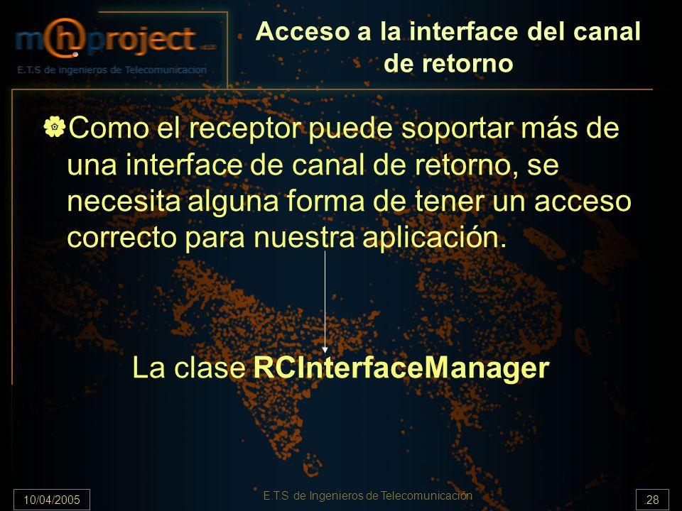 10/04/2005.28 E.T.S de Ingenieros de Telecomunicación Acceso a la interface del canal de retorno Como el receptor puede soportar más de una interface