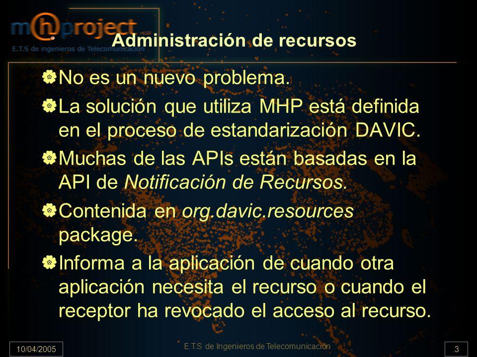 10/04/2005.4 E.T.S de Ingenieros de Telecomunicación API de Notificación de recursos Consiste en tres clases principales y no es en sí una completa API sino que otras APIs hacen uso de ella.