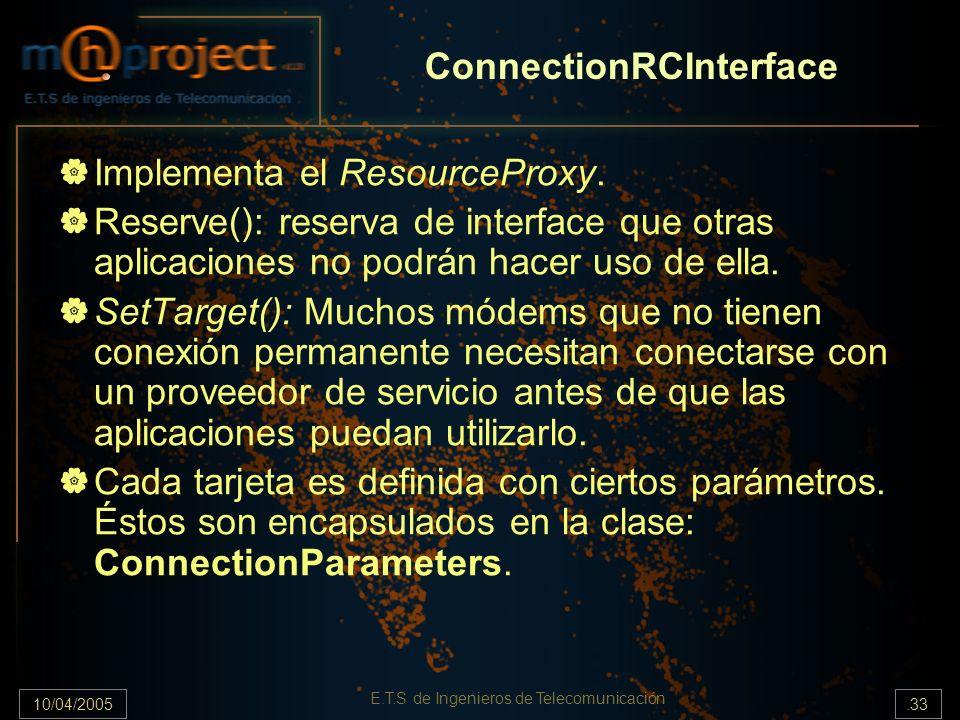 10/04/2005.33 E.T.S de Ingenieros de Telecomunicación ConnectionRCInterface Implementa el ResourceProxy. Reserve(): reserva de interface que otras apl