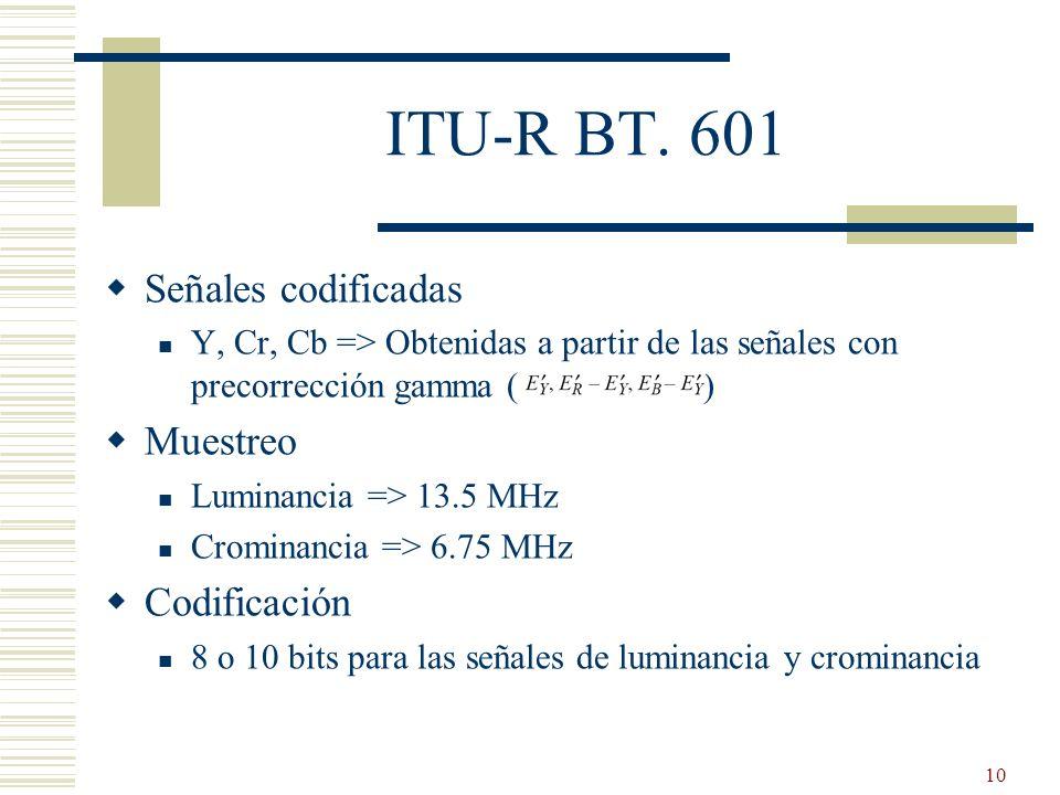 10 ITU-R BT. 601 Señales codificadas Y, Cr, Cb => Obtenidas a partir de las señales con precorrección gamma ( ) Muestreo Luminancia => 13.5 MHz Cromin