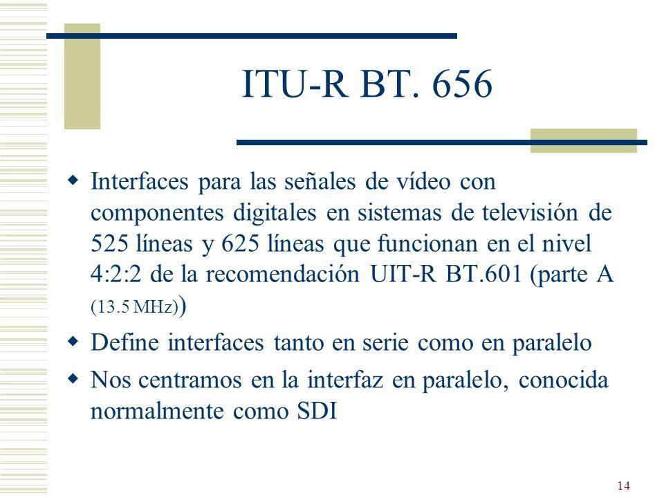 14 ITU-R BT. 656 Interfaces para las señales de vídeo con componentes digitales en sistemas de televisión de 525 líneas y 625 líneas que funcionan en