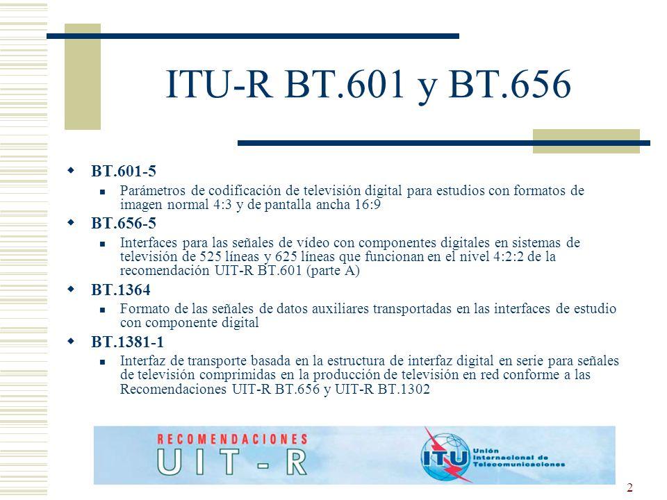 2 ITU-R BT.601 y BT.656 BT.601-5 Parámetros de codificación de televisión digital para estudios con formatos de imagen normal 4:3 y de pantalla ancha