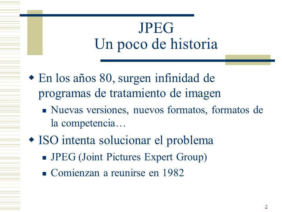 3 JPEG Objetivos Rápida implantación Hardware Velocidad Vídeo Para cumplir con esos objetivos, tenían que hacer un estándar implementable con la tecnología del momento (principios años 90)