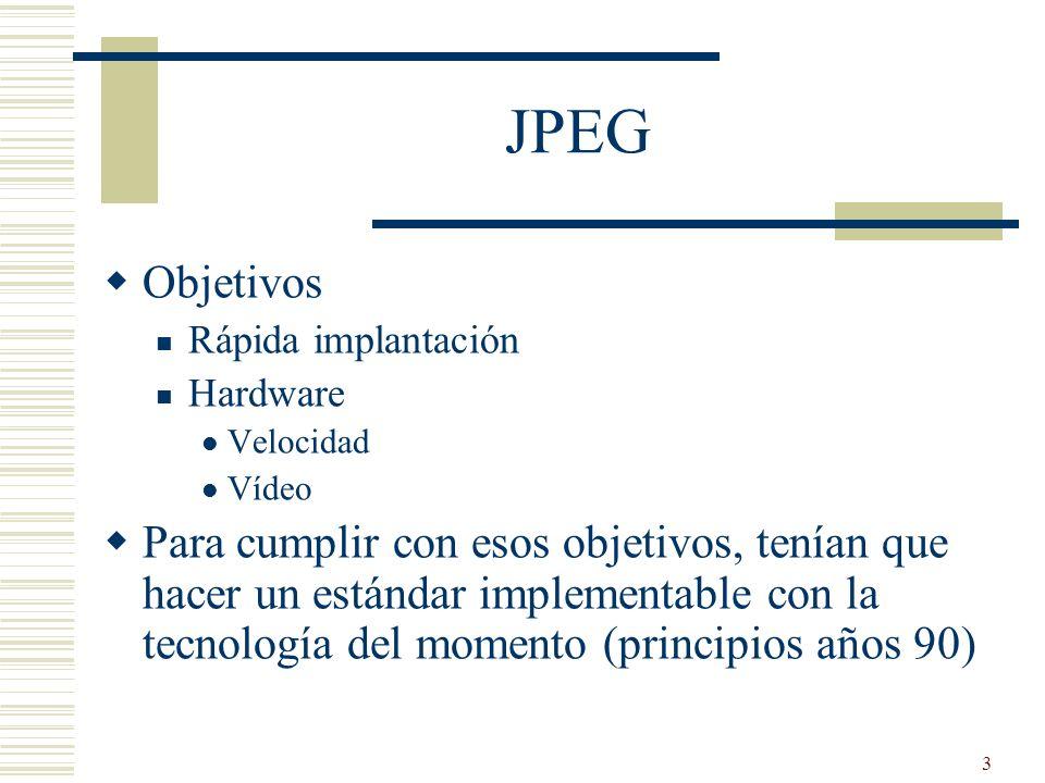 3 JPEG Objetivos Rápida implantación Hardware Velocidad Vídeo Para cumplir con esos objetivos, tenían que hacer un estándar implementable con la tecno