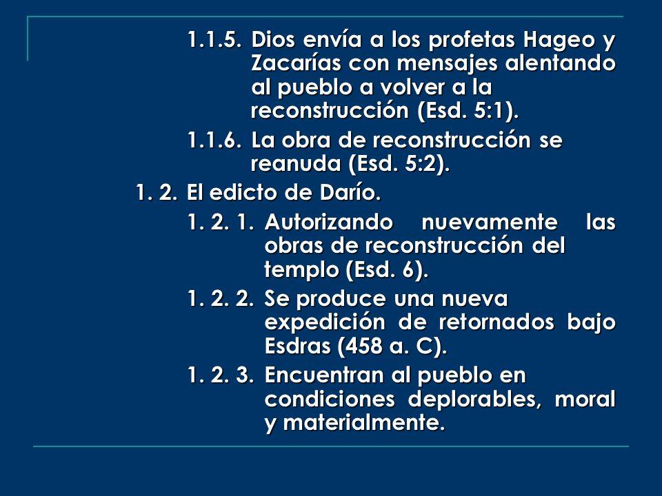 1.1.5.Dios envía a los profetas Hageo y Zacarías con mensajes alentando al pueblo a volver a la reconstrucción (Esd. 5:1). 1.1.6.La obra de reconstruc
