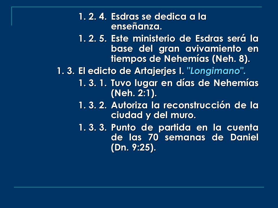 1. 2. 4. Esdras se dedica a la enseñanza. 1. 2. 5. Este ministerio de Esdras será la base del gran avivamiento en tiempos de Nehemías (Neh. 8). 1. 3.