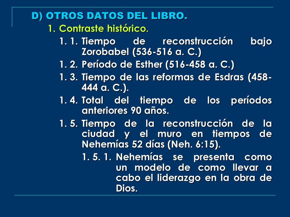 D) OTROS DATOS DEL LIBRO. 1.Contraste histórico. 1. 1. Tiempo de reconstrucción bajo Zorobabel (536-516 a. C.) 1. 2. Período de Esther (516-458 a. C.)
