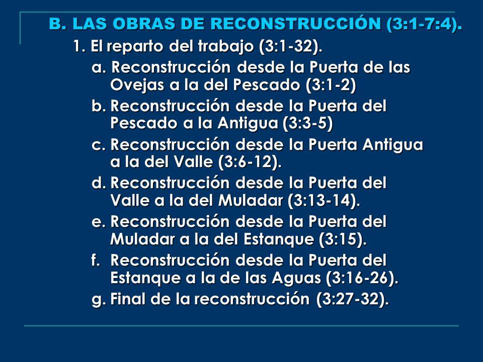 B. LAS OBRAS DE RECONSTRUCCIÓN (3:1-7:4). 1. El reparto del trabajo (3:1-32). a. Reconstrucción desde la Puerta de las Ovejas a la del Pescado (3:1-2)