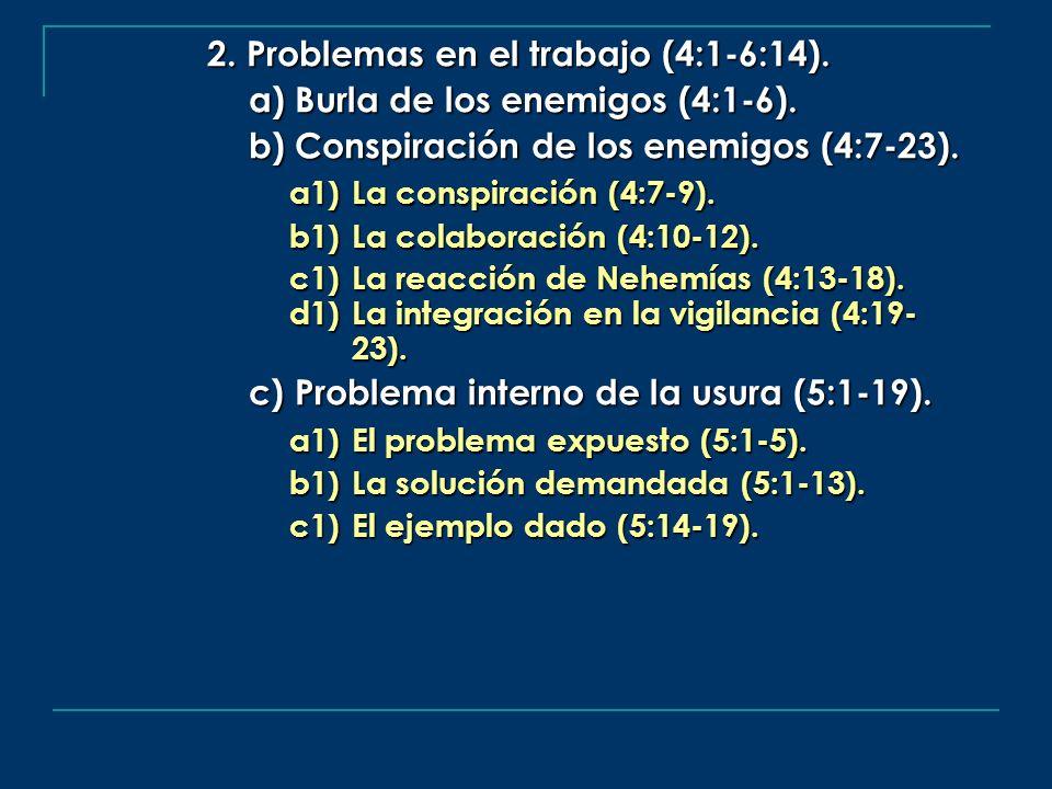 2. Problemas en el trabajo (4:1-6:14). a) Burla de los enemigos (4:1-6). b) Conspiración de los enemigos (4:7-23). a1) La conspiración (4:7-9). b1)La