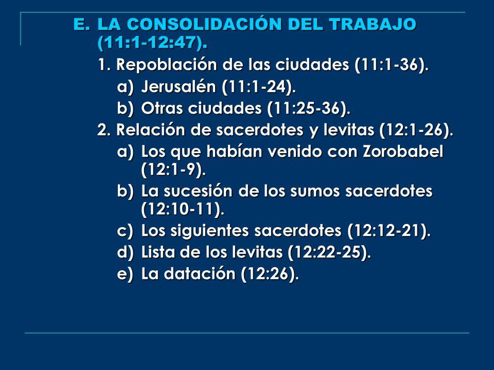 E. LA CONSOLIDACIÓN DEL TRABAJO (11:1-12:47). 1. Repoblación de las ciudades (11:1-36). a) Jerusalén (11:1-24). b) Otras ciudades (11:25-36). 2. Relac
