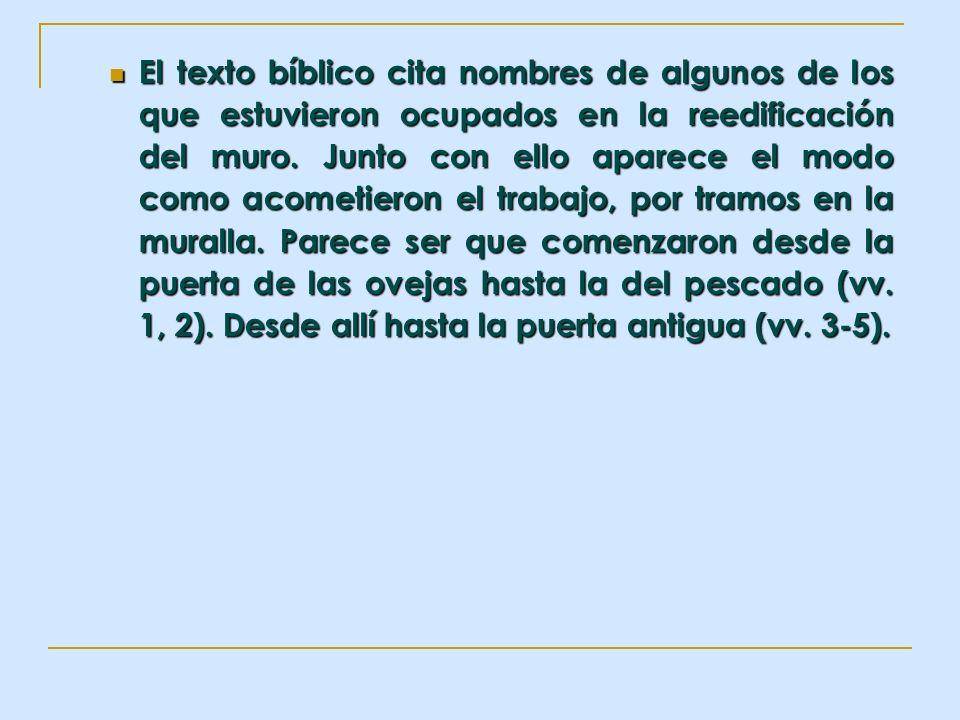 El texto bíblico cita nombres de algunos de los que estuvieron ocupados en la reedificación del muro. Junto con ello aparece el modo como acometieron
