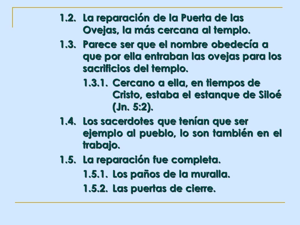 1.2.La reparación de la Puerta de las Ovejas, la más cercana al templo. 1.3.Parece ser que el nombre obedecía a que por ella entraban las ovejas para