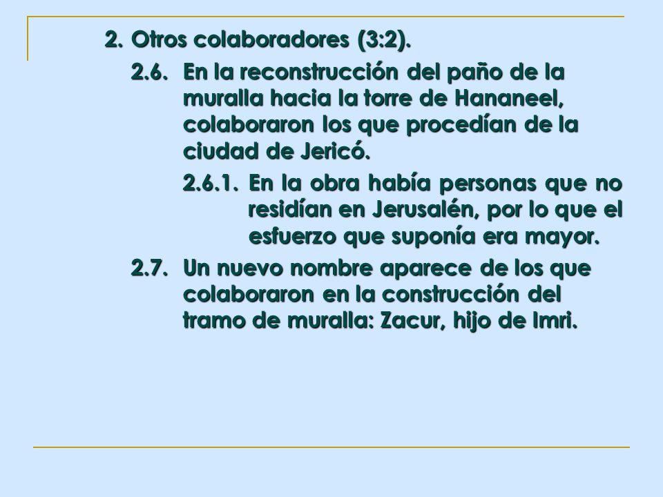 2. Otros colaboradores (3:2). 2.6.En la reconstrucción del paño de la muralla hacia la torre de Hananeel, colaboraron los que procedían de la ciudad d