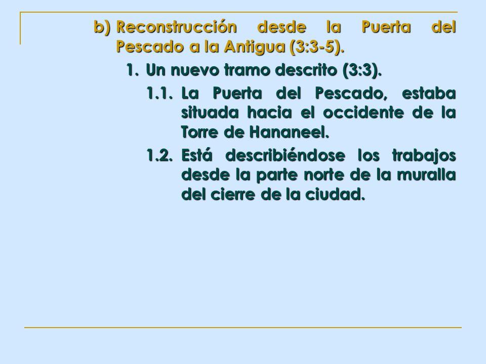 b)Reconstrucción desde la Puerta del Pescado a la Antigua (3:3-5). 1.Un nuevo tramo descrito (3:3). 1.1.La Puerta del Pescado, estaba situada hacia el