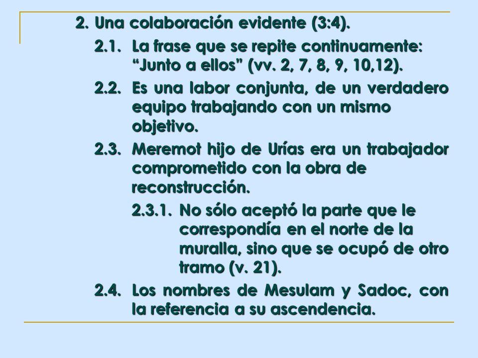2. Una colaboración evidente (3:4). 2.1.La frase que se repite continuamente: Junto a ellos (vv. 2, 7, 8, 9, 10,12). 2.2.Es una labor conjunta, de un