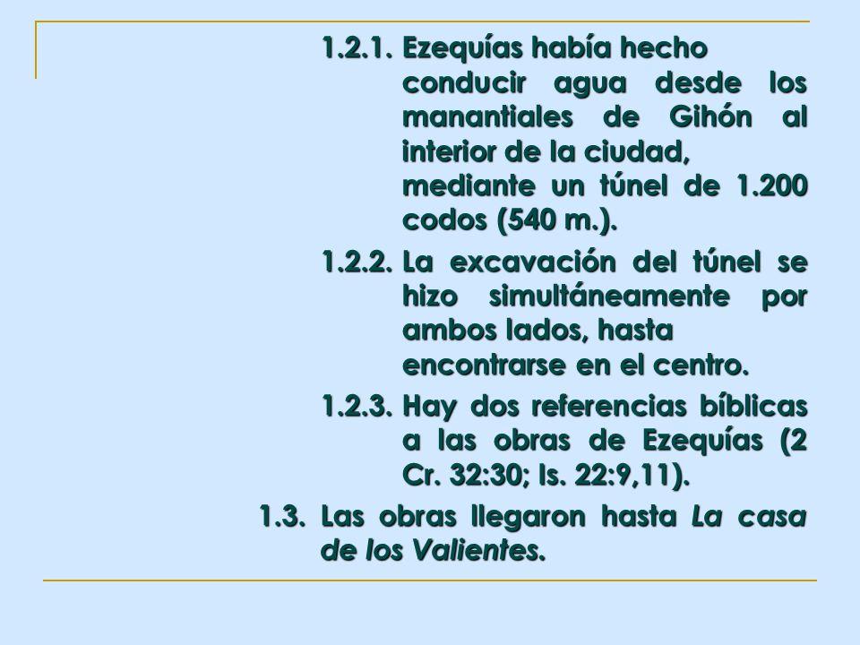 1.2.1.Ezequías había hecho conducir agua desde los manantiales de Gihón al interior de la ciudad, mediante un túnel de 1.200 codos (540 m.). 1.2.2.La
