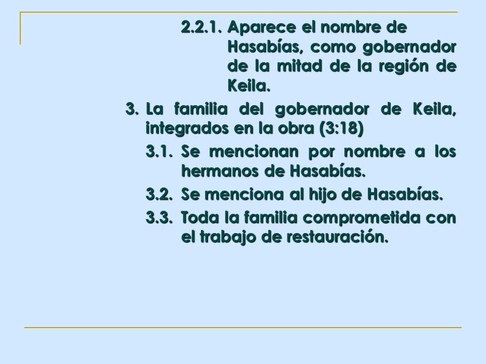 2.2.1.Aparece el nombre de Hasabías, como gobernador de la mitad de la región de Keila. 3. La familia del gobernador de Keila, integrados en la obra (