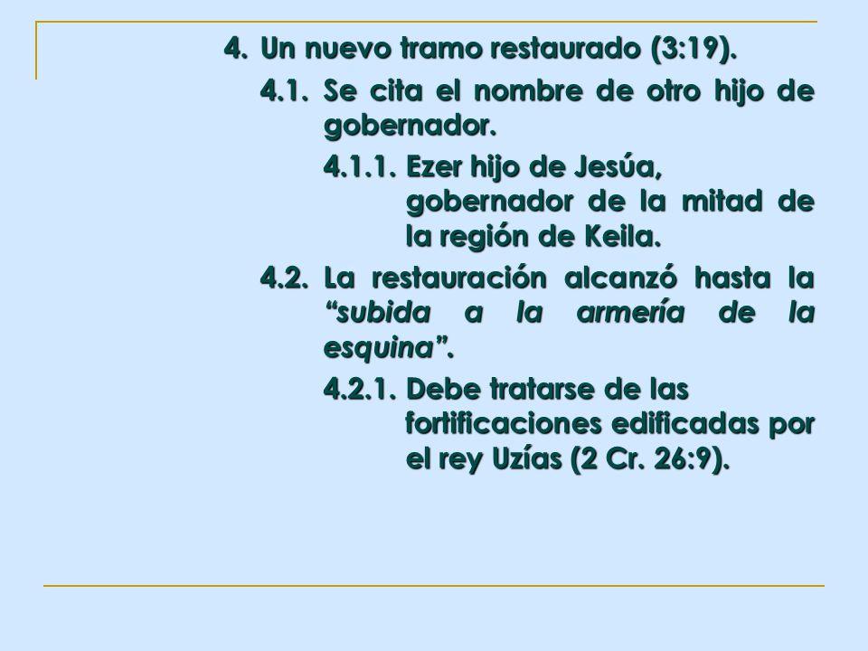 4. Un nuevo tramo restaurado (3:19). 4.1.Se cita el nombre de otro hijo de gobernador. 4.1.1.Ezer hijo de Jesúa, gobernador de la mitad de la región d