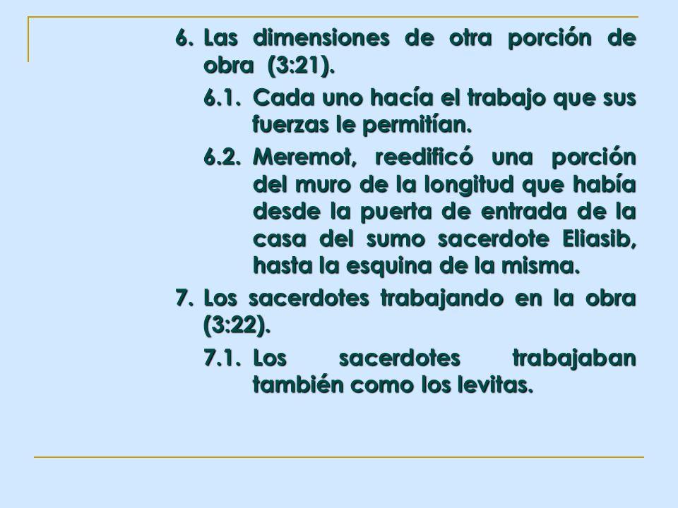 6. Las dimensiones de otra porción de obra (3:21). 6.1.Cada uno hacía el trabajo que sus fuerzas le permitían. 6.2.Meremot, reedificó una porción del
