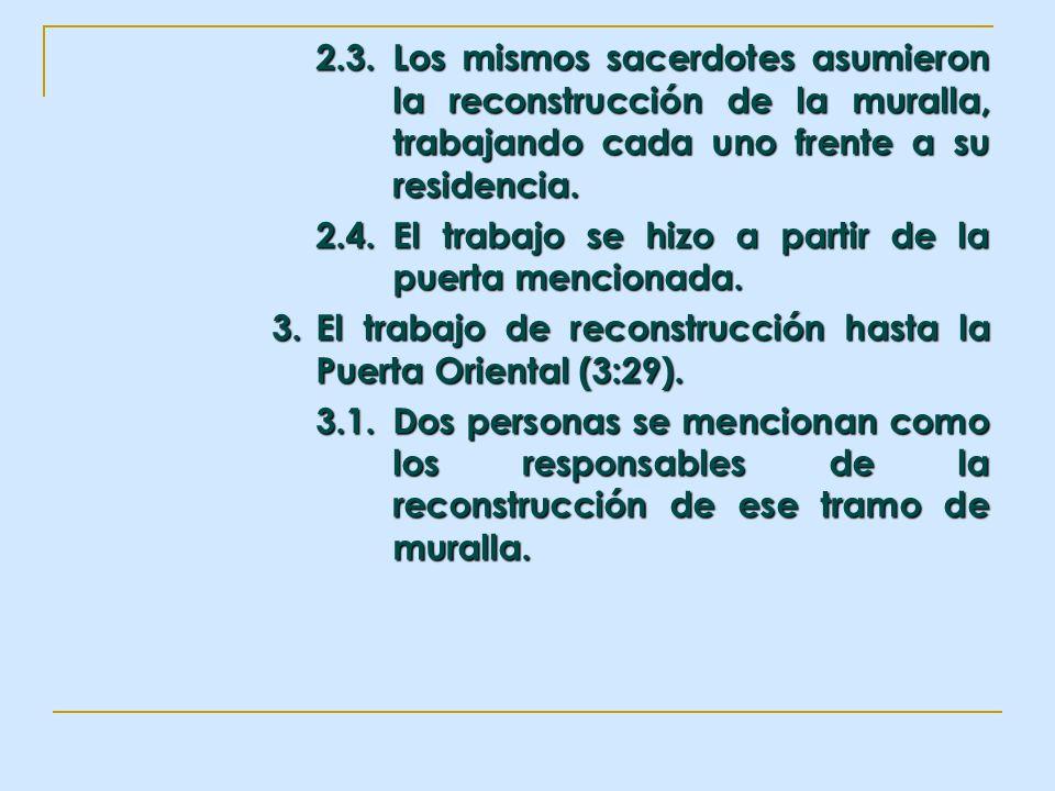 2.3.Los mismos sacerdotes asumieron la reconstrucción de la muralla, trabajando cada uno frente a su residencia. 2.4.El trabajo se hizo a partir de la