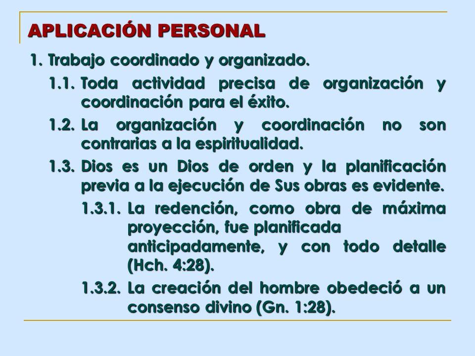 APLICACIÓN PERSONAL 1. Trabajo coordinado y organizado. 1.1.Toda actividad precisa de organización y coordinación para el éxito. 1.2.La organización y