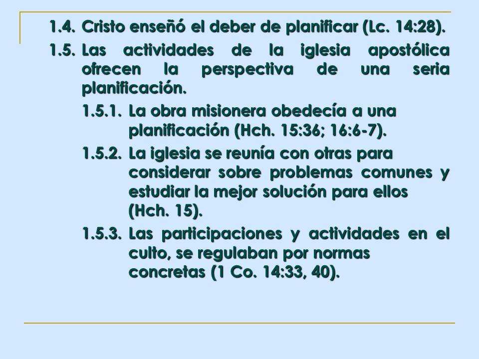 1.4.Cristo enseñó el deber de planificar (Lc. 14:28). 1.5.Las actividades de la iglesia apostólica ofrecen la perspectiva de una seria planificación.