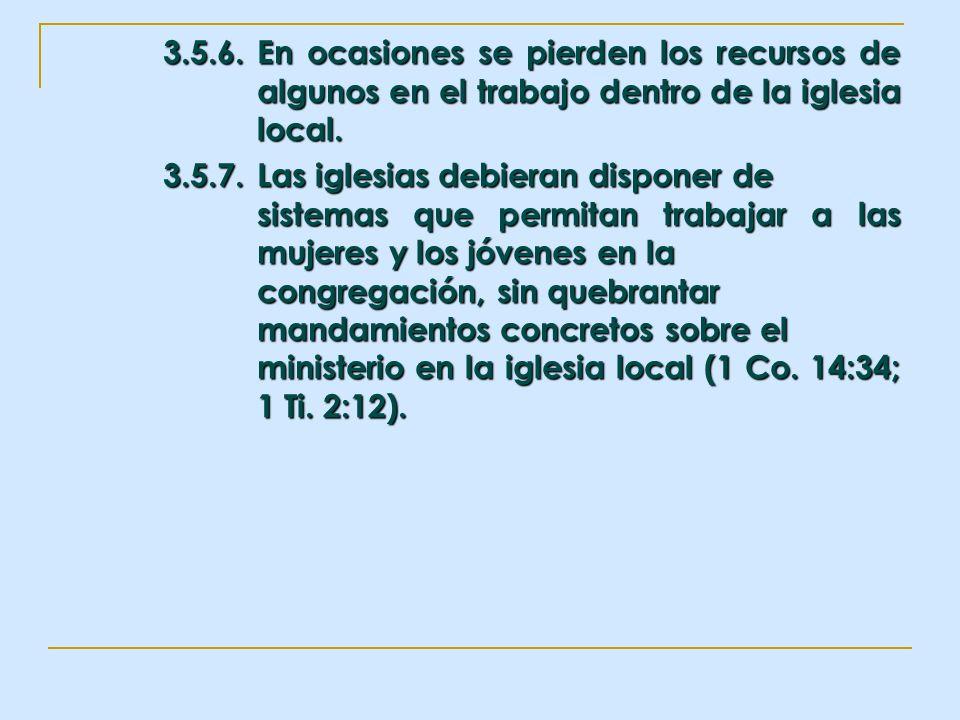 3.5.6.En ocasiones se pierden los recursos de algunos en el trabajo dentro de la iglesia local. 3.5.7.Las iglesias debieran disponer de sistemas que p