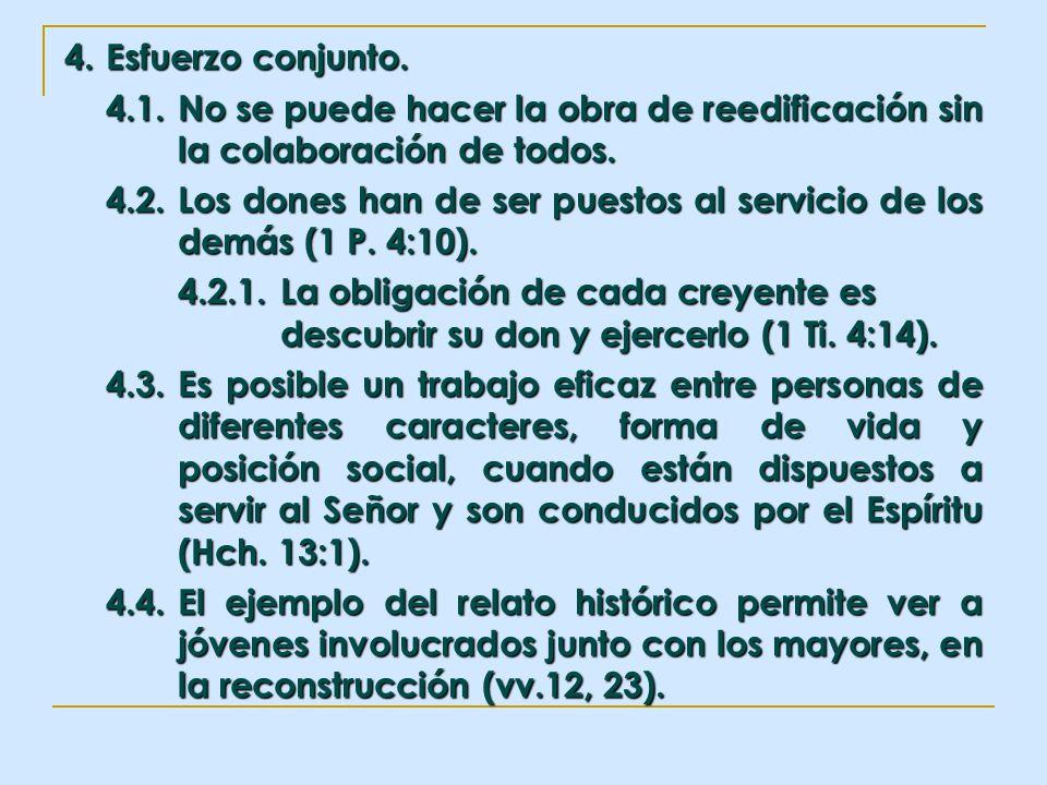 4. Esfuerzo conjunto. 4.1.No se puede hacer la obra de reedificación sin la colaboración de todos. 4.2.Los dones han de ser puestos al servicio de los