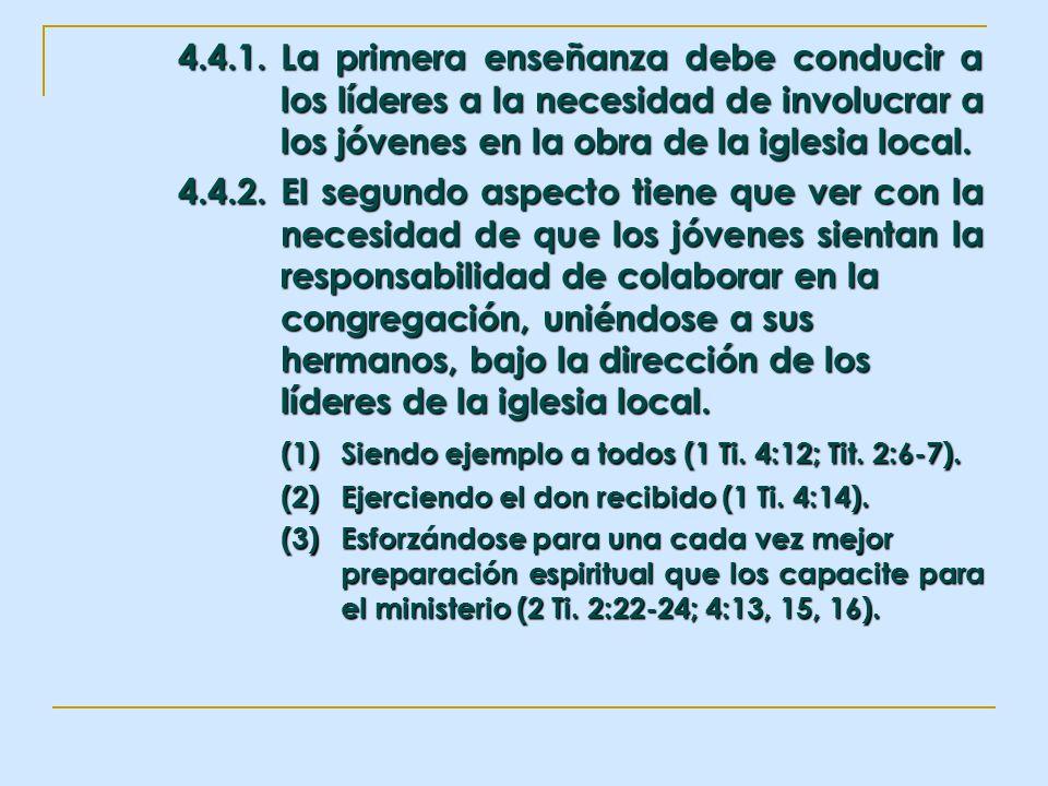 4.4.1.La primera enseñanza debe conducir a los líderes a la necesidad de involucrar a los jóvenes en la obra de la iglesia local. 4.4.2.El segundo asp