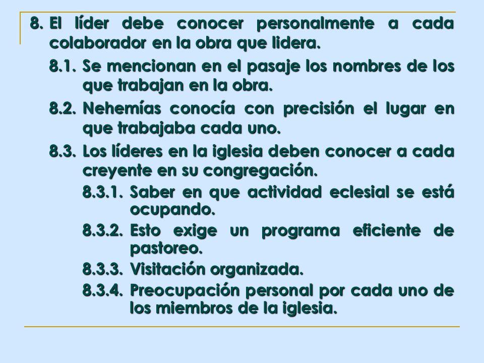 8. El líder debe conocer personalmente a cada colaborador en la obra que lidera. 8.1.Se mencionan en el pasaje los nombres de los que trabajan en la o