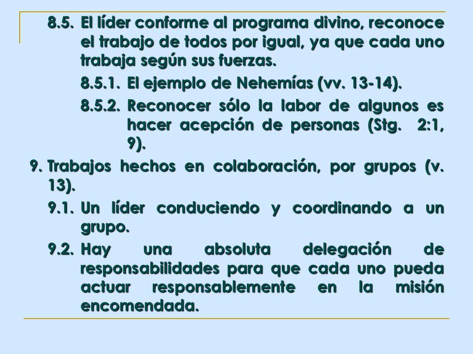 8.5.El líder conforme al programa divino, reconoce el trabajo de todos por igual, ya que cada uno trabaja según sus fuerzas. 8.5.1.El ejemplo de Nehem