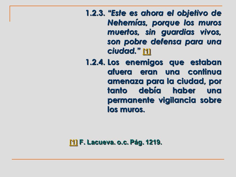 1.2.3. Este es ahora el objetivo de Nehemías, porque los muros muertos, sin guardias vivos, son pobre defensa para una ciudad. [1] [1] 1.2.4.Los enemi