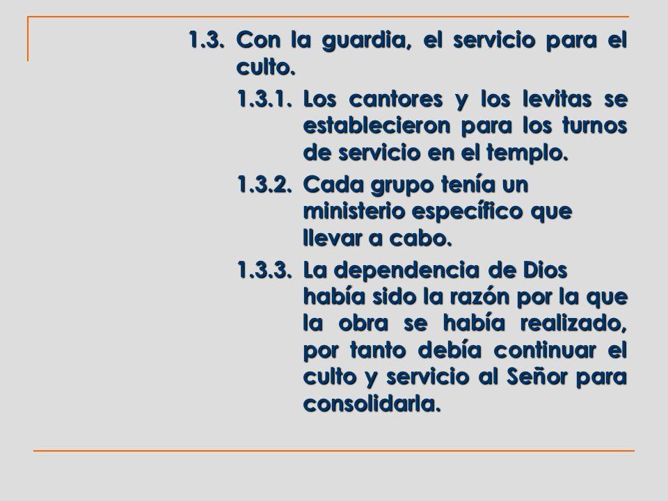 1.3.Con la guardia, el servicio para el culto. 1.3.1.Los cantores y los levitas se establecieron para los turnos de servicio en el templo. 1.3.2.Cada