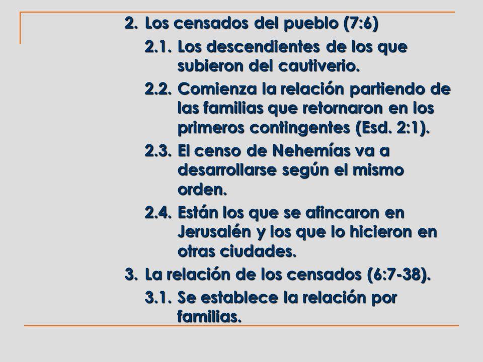 2. Los censados del pueblo (7:6) 2.1.Los descendientes de los que subieron del cautiverio. 2.2.Comienza la relación partiendo de las familias que reto