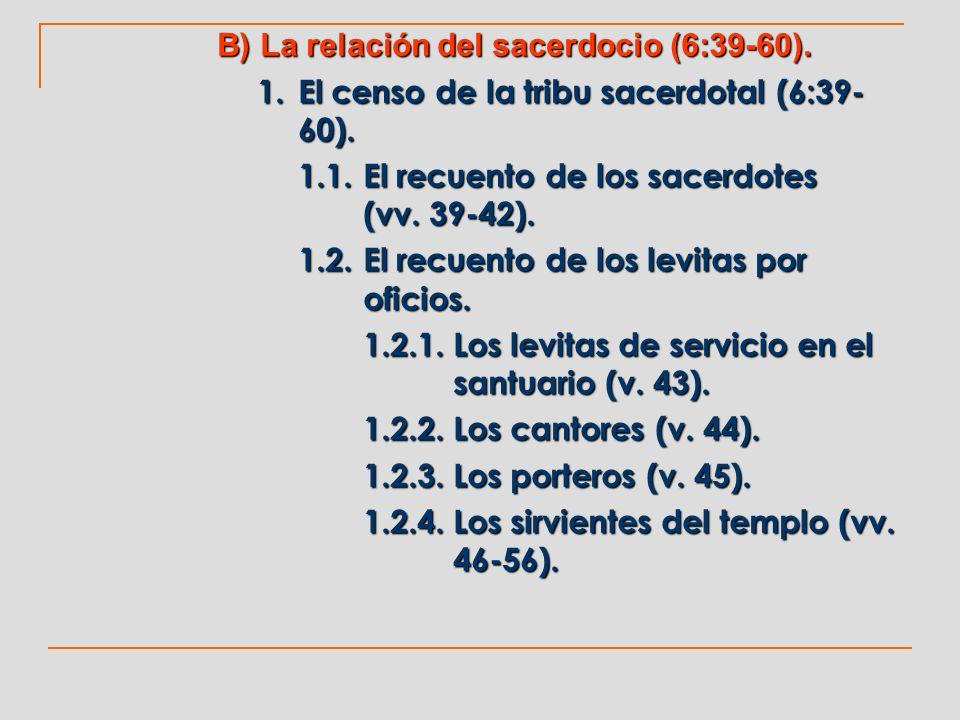 B) La relación del sacerdocio (6:39-60). 1. El censo de la tribu sacerdotal (6:39- 60). 1.1.El recuento de los sacerdotes (vv. 39-42). 1.2.El recuento