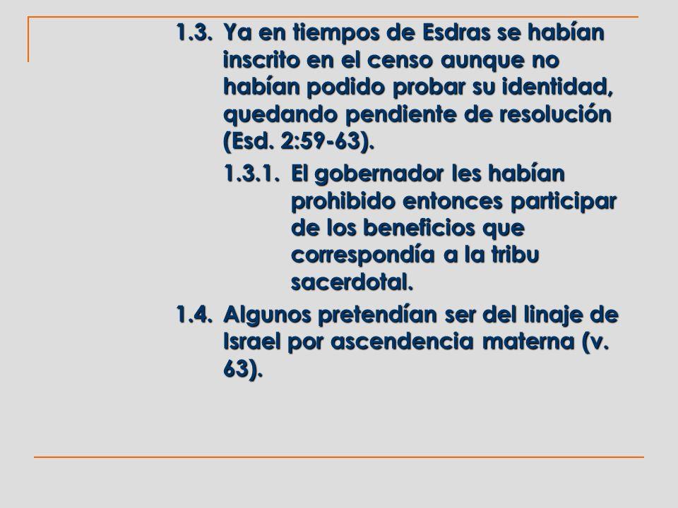 1.3.Ya en tiempos de Esdras se habían inscrito en el censo aunque no habían podido probar su identidad, quedando pendiente de resolución (Esd. 2:59-63