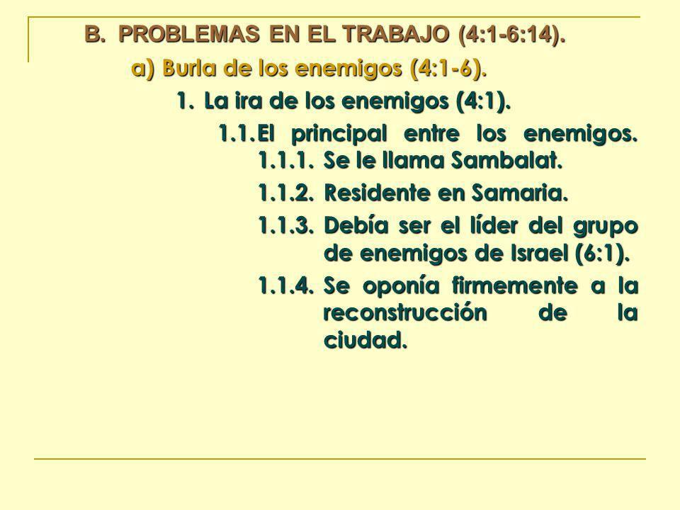 B.PROBLEMAS EN EL TRABAJO (4:1-6:14). a)Burla de los enemigos (4:1-6). 1.La ira de los enemigos (4:1). 1.1.El principal entre los enemigos. 1.1.1.Se l
