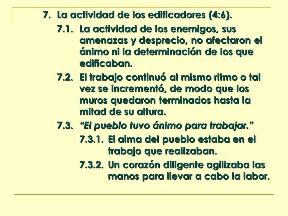 7. La actividad de los edificadores (4:6). 7.1.La actividad de los enemigos, sus amenazas y desprecio, no afectaron el ánimo ni la determinación de lo