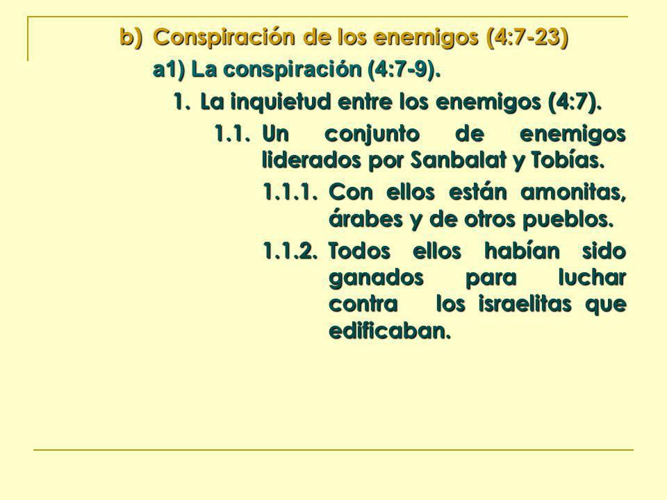 b)Conspiración de los enemigos (4:7-23) a1) La conspiración (4:7-9). 1.La inquietud entre los enemigos (4:7). 1.1.Un conjunto de enemigos liderados po