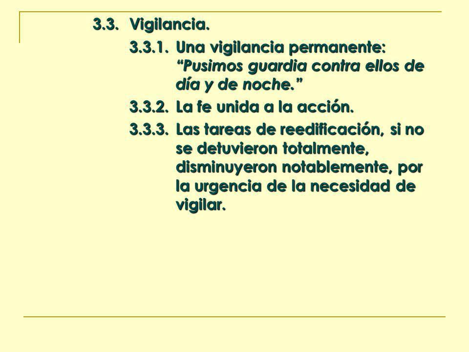 3.3.Vigilancia. 3.3.1.Una vigilancia permanente: Pusimos guardia contra ellos de día y de noche. 3.3.2.La fe unida a la acción. 3.3.3.Las tareas de re