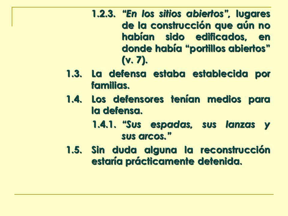 1.2.3. En los sitios abiertos, lugares de la construcción que aún no habían sido edificados, en donde había portillos abiertos (v. 7). 1.3.La defensa