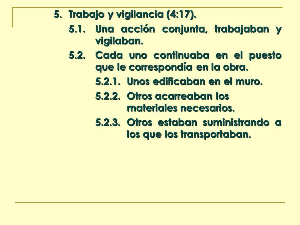 5. Trabajo y vigilancia (4:17). 5.1.Una acción conjunta, trabajaban y vigilaban. 5.2.Cada uno continuaba en el puesto que le correspondía en la obra.