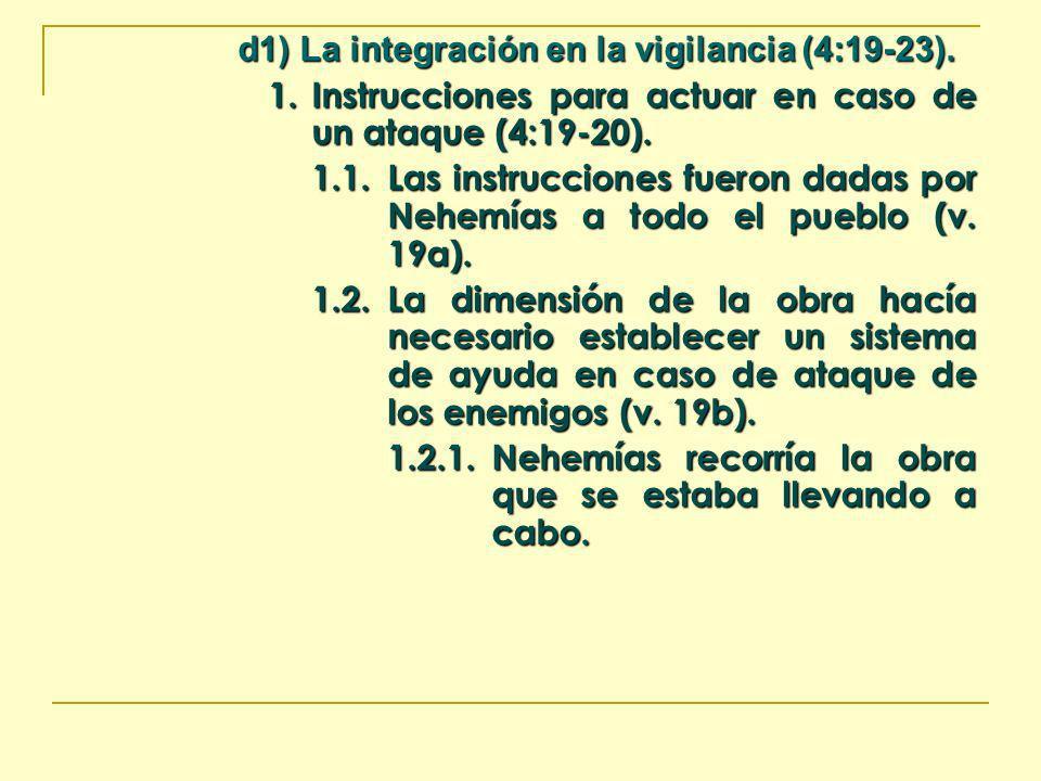 d1) La integración en la vigilancia (4:19-23). 1. Instrucciones para actuar en caso de un ataque (4:19-20). 1.1.Las instrucciones fueron dadas por Neh
