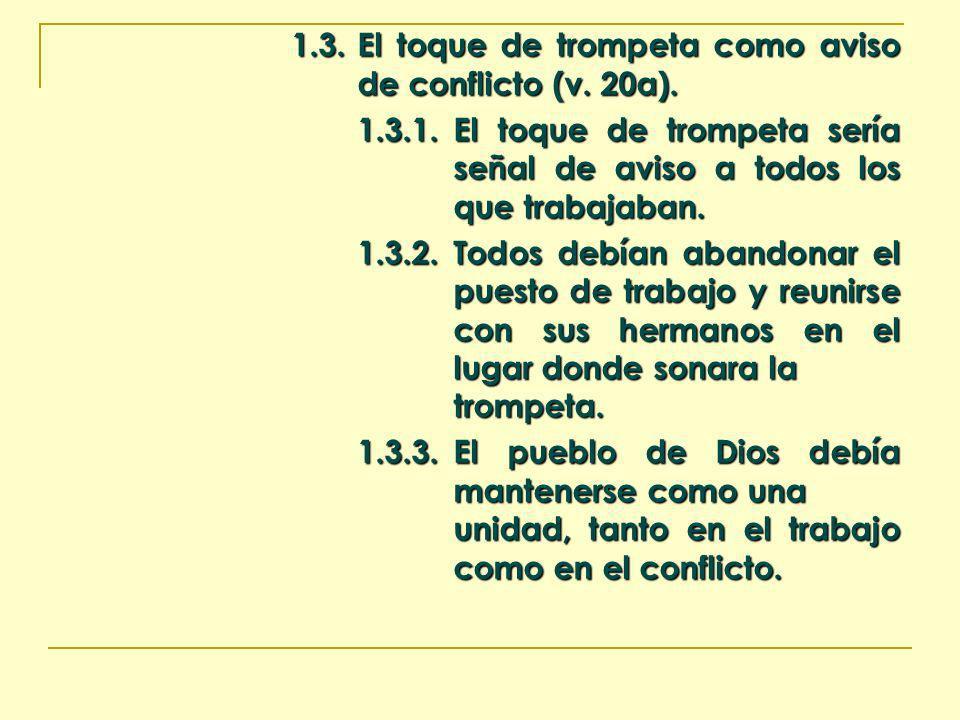 1.3. El toque de trompeta como aviso de conflicto (v. 20a). 1.3.1.El toque de trompeta sería señal de aviso a todos los que trabajaban. 1.3.2.Todos de