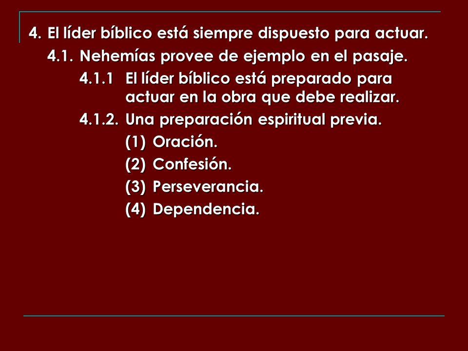 4. El líder bíblico está siempre dispuesto para actuar. 4.1.Nehemías provee de ejemplo en el pasaje. 4.1.1El líder bíblico está preparado para actuar