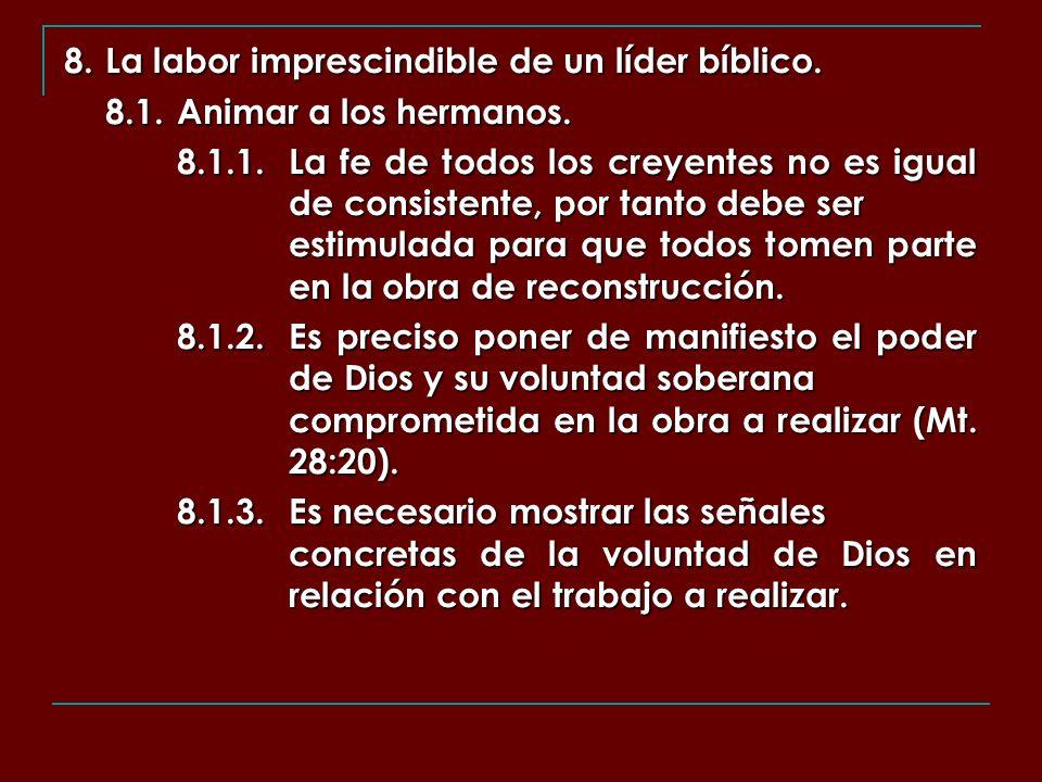 8. La labor imprescindible de un líder bíblico. 8.1.Animar a los hermanos. 8.1.1.La fe de todos los creyentes no es igual de consistente, por tanto de