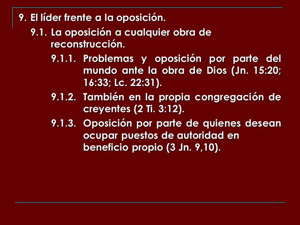 9. El líder frente a la oposición. 9.1.La oposición a cualquier obra de reconstrucción. 9.1.1.Problemas y oposición por parte del mundo ante la obra d